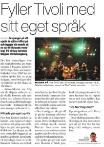 Article in Lokaltidningen Helsingborg about Magma + Mats/Morgan Duo.