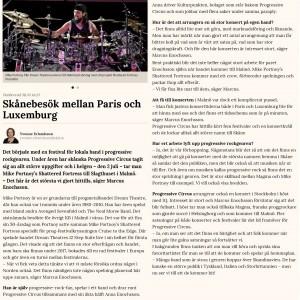Article by Yvonne Erlandsson in Skånska Dagbladet
